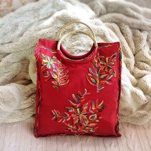 Handbags - Red Embroidered Bag